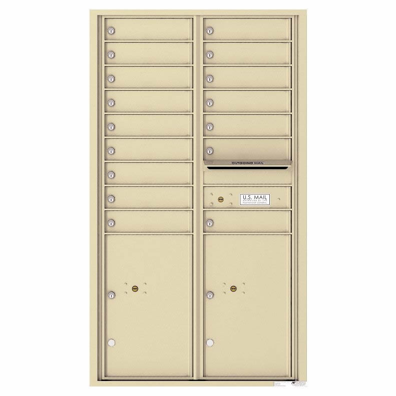 Florence Versatile Front Loading 4C Commercial Mailbox 16 Tenant Compartments with 2 Parcel Lockers Sandstone