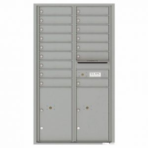 Florence Versatile Front Loading 4C Commercial Mailbox 16 Tenant Compartments with 2 Parcel Lockers Silver Speck