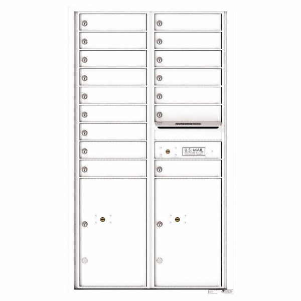 Florence Versatile Front Loading 4C Commercial Mailbox 16 Tenant Compartments with 2 Parcel Lockers White