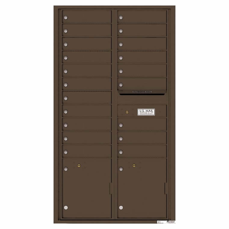 Florence Versatile Front Loading 4C Commercial Mailbox 20 Tenant Compartments with 2 Parcel Lockers 4C16D-20 Dark Bronze 2