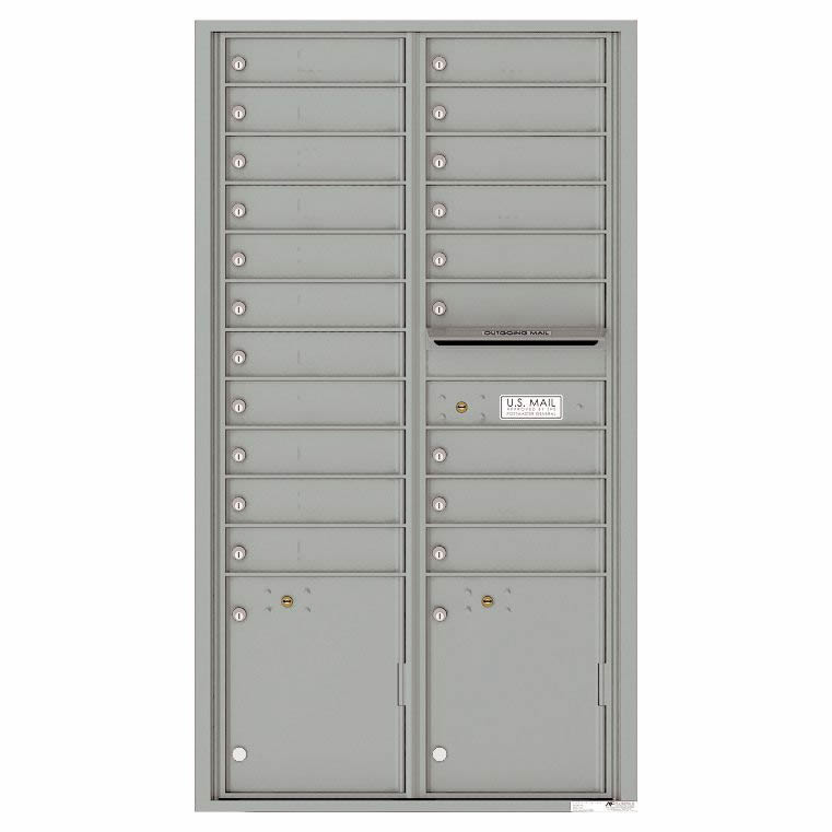 Florence Versatile Front Loading 4C Commercial Mailbox 20 Tenant Compartments with 2 Parcel Lockers 4C16D-20