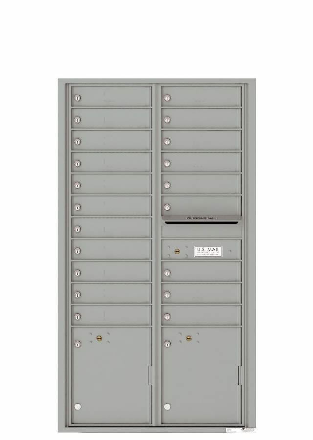 Florence Versatile Front Loading 4C Commercial Mailbox 20 Tenant Compartments with 2 Parcel Lockers 4C16D-20 Silver Spec