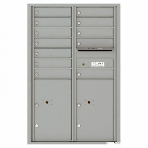 Florence Versatile Front Loading 4C Commercial Mailbox with 12 Tenant Compartments and 2 Parcel Lockers 4C13D-12