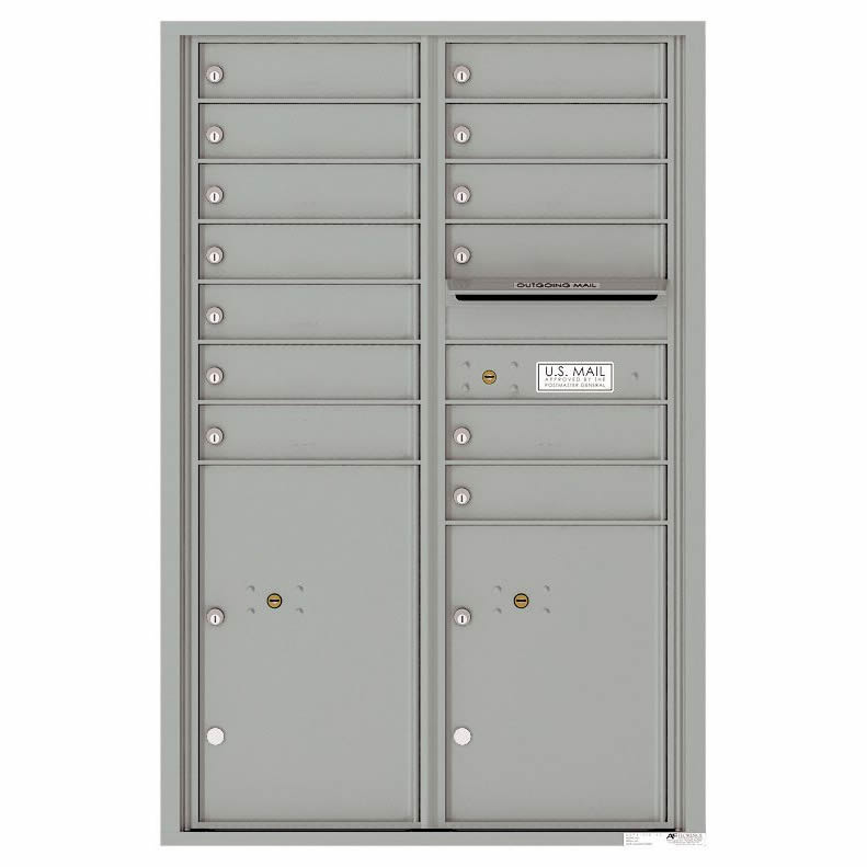 Florence Versatile Front Loading 4C Commercial Mailbox 4C13D-12 with 13 Tenant Compartments and 2 Parcel Lockers