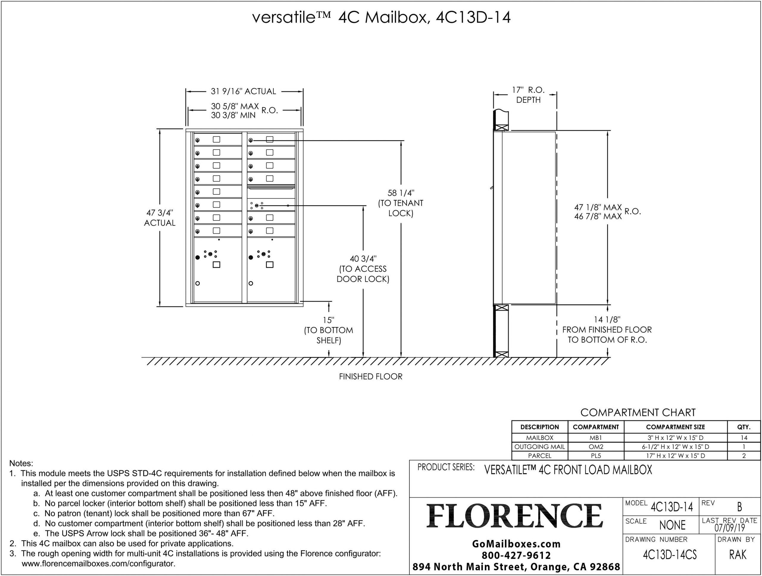 Florence-Versatile-Front-Loading-4C-Commercial-Mailbox-4C13D-14-Dimensions