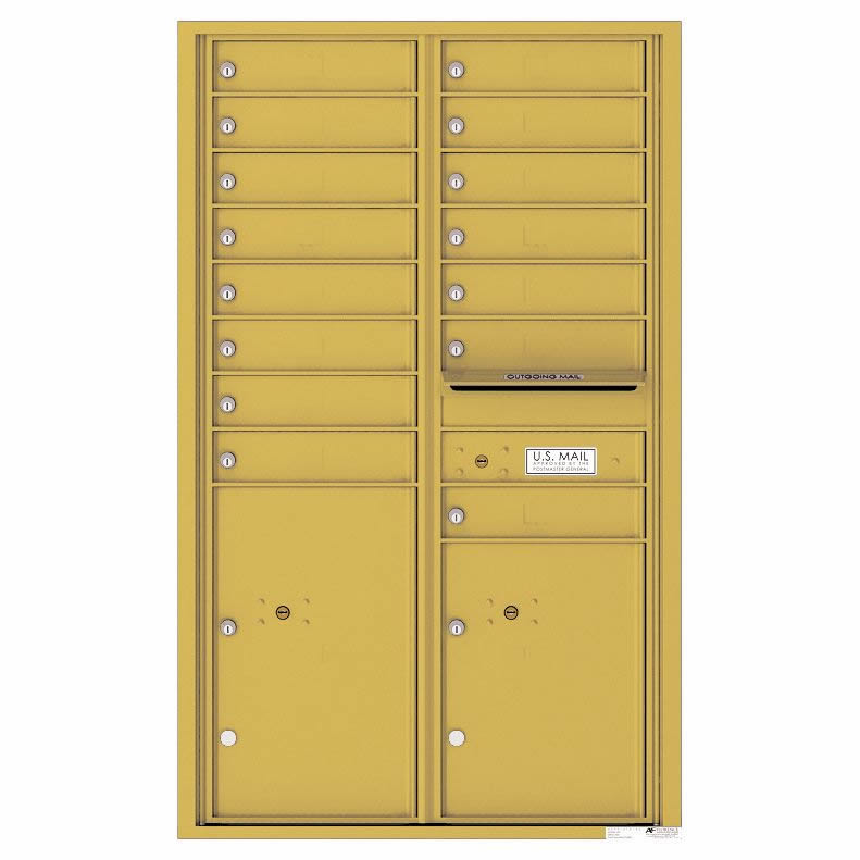 Florence Versatile Front Loading 4C Commercial Mailbox 4C14D-15 Gold Speck