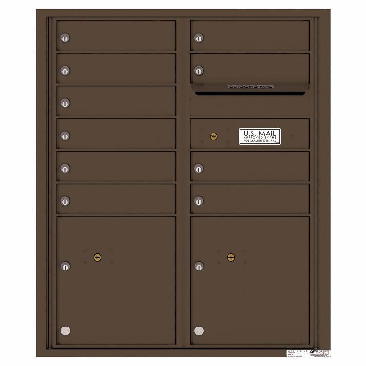 Florence Versatile Front Loading 4C Commercial Mailbox 4CADD-10 Antique Bronze