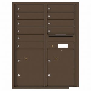 Florence Versatile Front Loading 4C Commercial Mailbox with 10 Tenant Compartments and 2 Parcel Lockers 4C11D-10 Antique Bronze