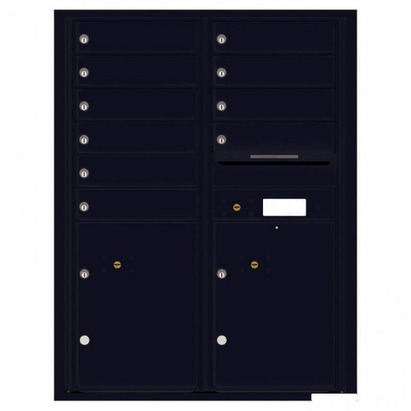 Florence Versatile Front Loading 4C Commercial Mailbox with 10 Tenant Compartments and 2 Parcel Lockers 4C11D-10 Black