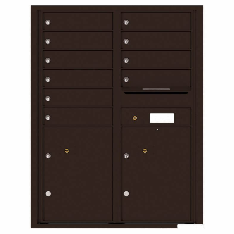 Florence Versatile Front Loading 4C Commercial Mailbox with 10 Tenant Compartments and 2 Parcel Lockers 4C11D-10 Dark Bronze