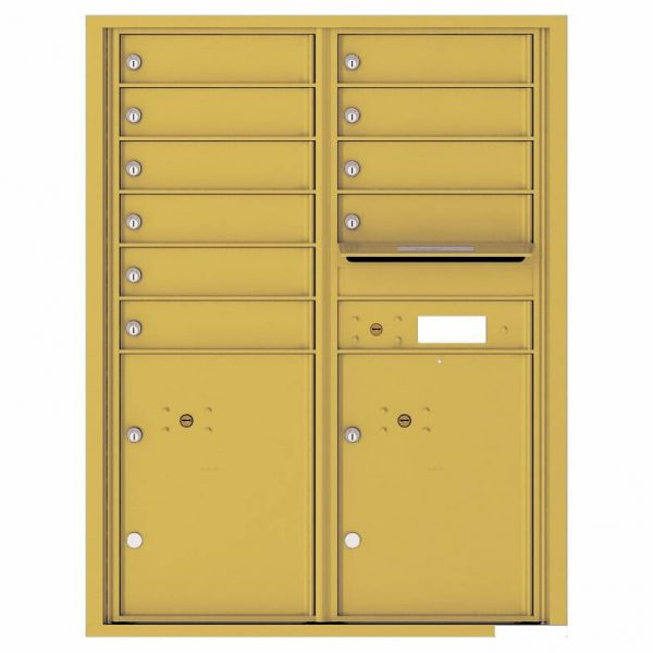 Florence Versatile Front Loading 4C Commercial Mailbox with 10 Tenant Compartments and 2 Parcel Lockers 4C11D-10 Gold Speck
