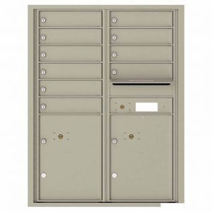 Florence Versatile Front Loading 4C Commercial Mailbox with 10 Tenant Compartments and 2 Parcel Lockers 4C11D-10 Postal Grey