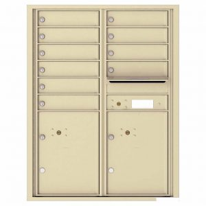 Florence Versatile Front Loading 4C Commercial Mailbox with 10 Tenant Compartments and 2 Parcel Lockers 4C11D-10 Sandstone