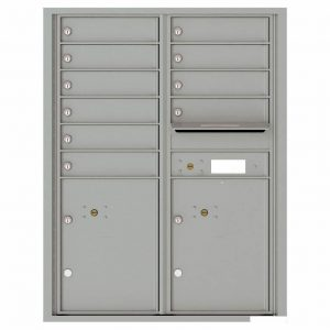 Florence Versatile Front Loading 4C Commercial Mailbox with 10 Tenant Compartments and 2 Parcel Lockers 4C11D-10 Silver Speck