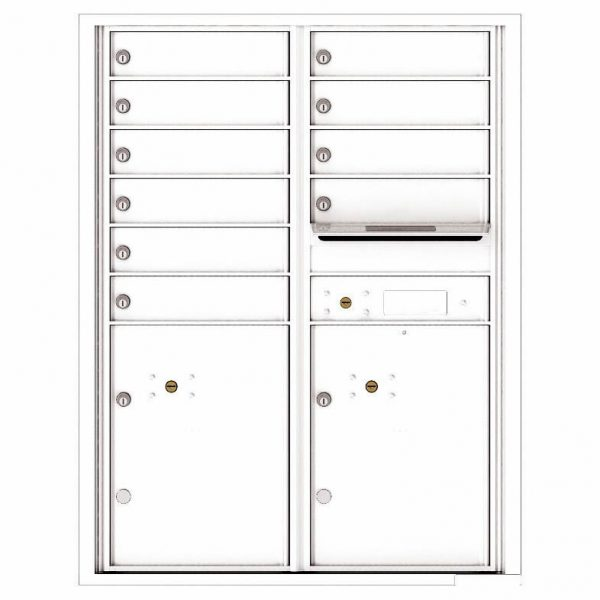 Florence Versatile Front Loading 4C Commercial Mailbox with 10 Tenant Compartments and 2 Parcel Lockers 4C11D-10 White
