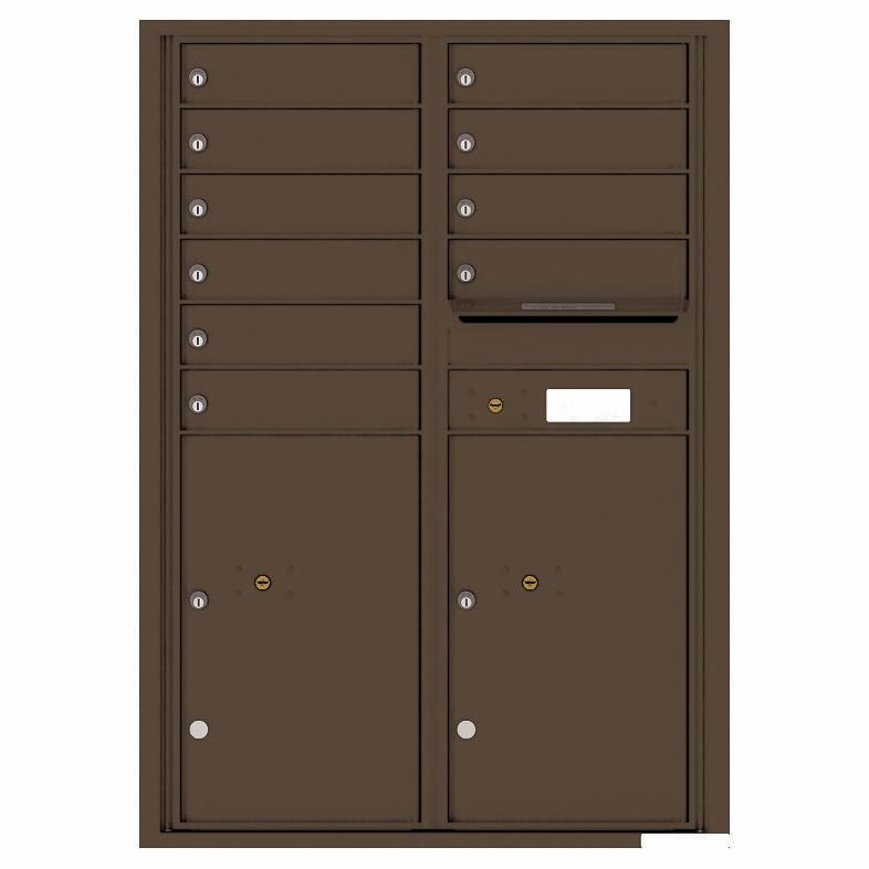 Florence Versatile Front Loading 4C Commercial Mailbox with 10 Tenant Compartments and 2 Parcel Lockers 4C12D-10 Antique Bronze