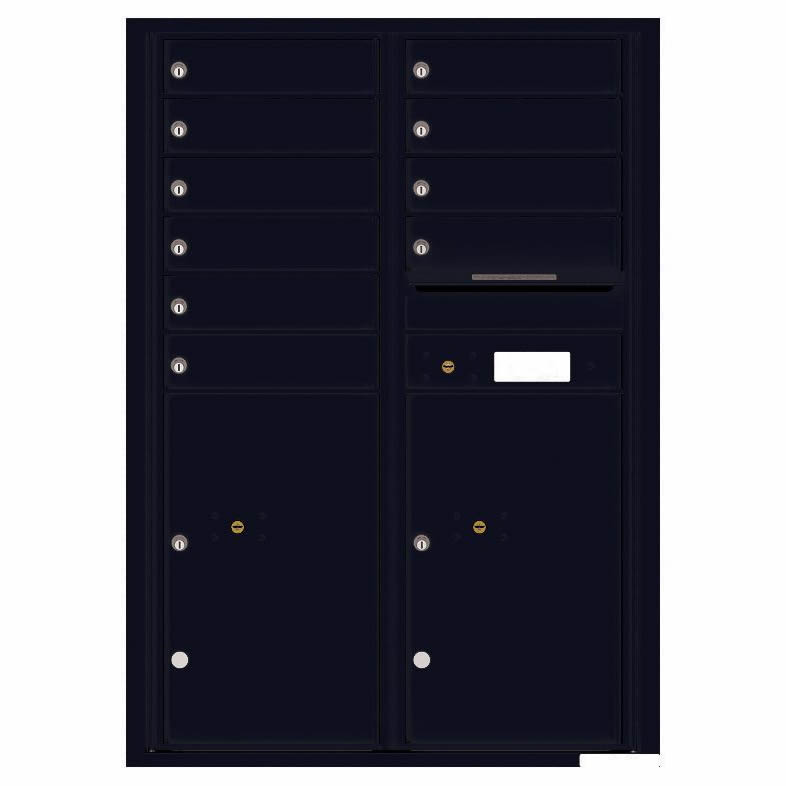 Florence Versatile Front Loading 4C Commercial Mailbox with 10 Tenant Compartments and 2 Parcel Lockers 4C12D-10 Black
