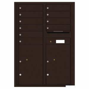 Florence Versatile Front Loading 4C Commercial Mailbox with 10 Tenant Compartments and 2 Parcel Lockers 4C12D-10 Dark Bronze