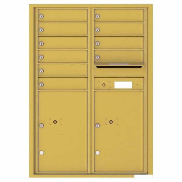 Florence Versatile Front Loading 4C Commercial Mailbox with 10 Tenant Compartments and 2 Parcel Lockers 4C12D-10 Gold Speck