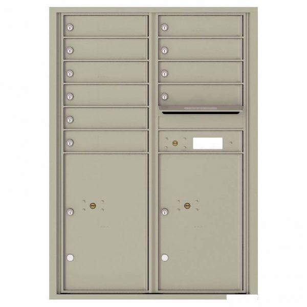 Florence Versatile Front Loading 4C Commercial Mailbox with 10 Tenant Compartments and 2 Parcel Lockers 4C12D-10 Postal Grey