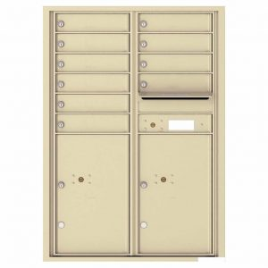 Florence Versatile Front Loading 4C Commercial Mailbox with 10 Tenant Compartments and 2 Parcel Lockers 4C12D-10 Sandstone