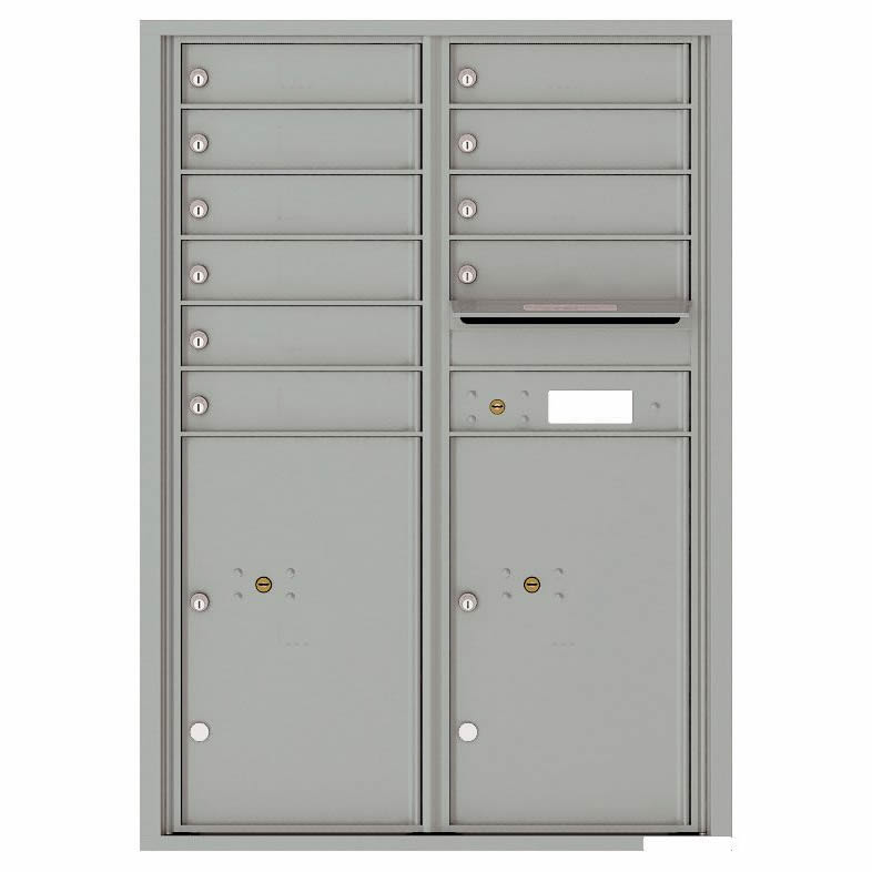 Florence Versatile Front Loading 4C Commercial Mailbox with 10 Tenant Compartments and 2 Parcel Lockers 4C12D-10 Silver Speck
