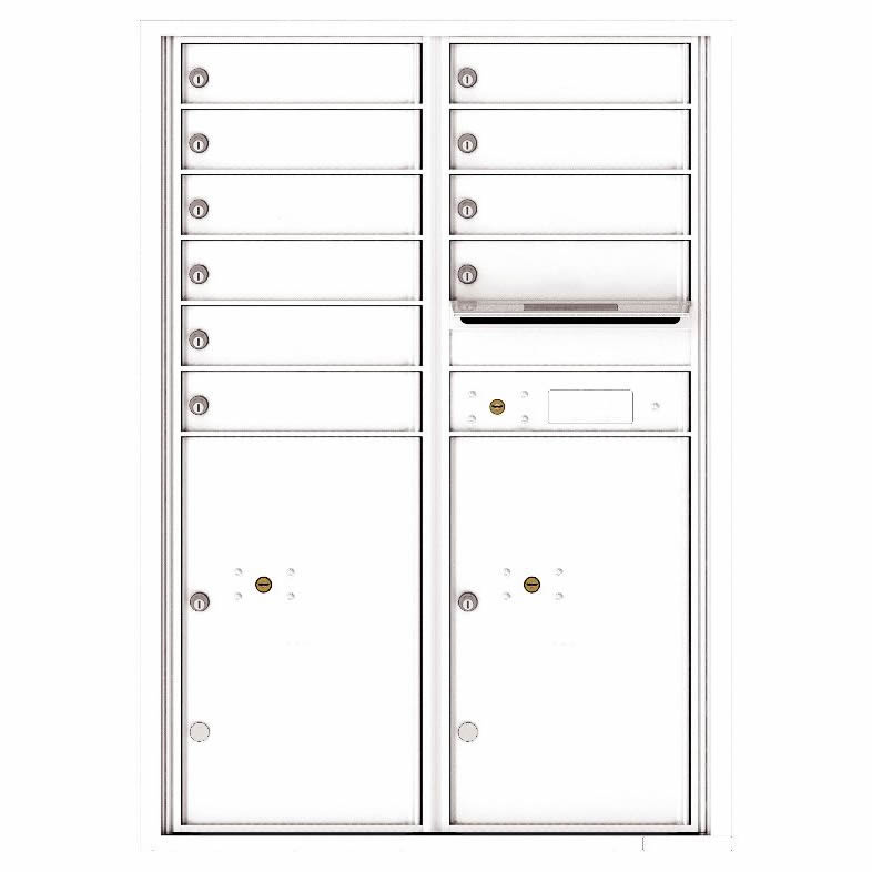 Florence Versatile Front Loading 4C Commercial Mailbox with 10 Tenant Compartments and 2 Parcel Lockers 4C12D-10 White