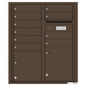 Florence Versatile Front Loading 4C Commercial Mailbox with 10 tenant Doors and 2 Parcel Lockers 4CADD-10 Antique Bronze
