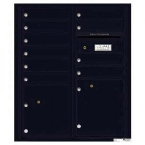 Florence Versatile Front Loading 4C Commercial Mailbox with 10 tenant Doors and 2 Parcel Lockers 4CADD-10 Black