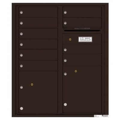 Florence Versatile Front Loading 4C Commercial Mailbox with 10 tenant Doors and 2 Parcel Lockers 4CADD-10 Dark Bronze