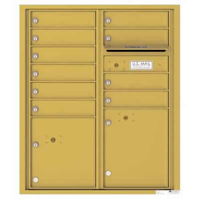 Florence Versatile Front Loading 4C Commercial Mailbox with 10 tenant Doors and 2 Parcel Lockers 4CADD-10 Gold Speck