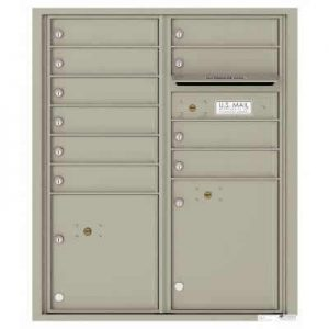 Florence Versatile Front Loading 4C Commercial Mailbox with 10 tenant Doors and 2 Parcel Lockers 4CADD-10 Postal Grey