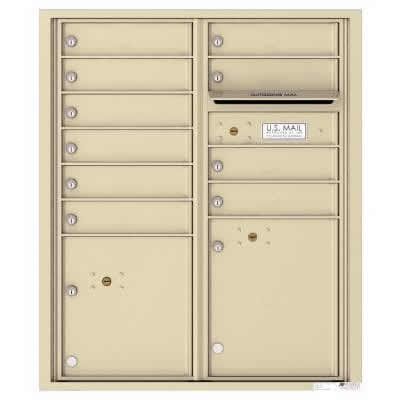 Florence Versatile Front Loading 4C Commercial Mailbox with 10 tenant Doors and 2 Parcel Lockers 4CADD-10 Sandstone
