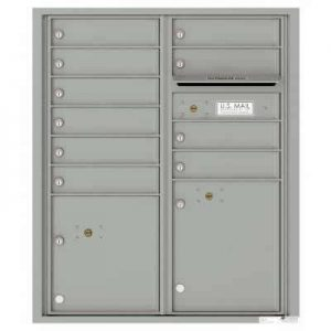 Florence Versatile Front Loading 4C Commercial Mailbox with 10 tenant Doors and 2 Parcel Lockers 4CADD-10 Silver Speck