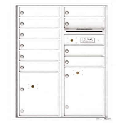 Florence Versatile Front Loading 4C Commercial Mailbox with 10 tenant Doors and 2 Parcel Lockers 4CADD-10 White