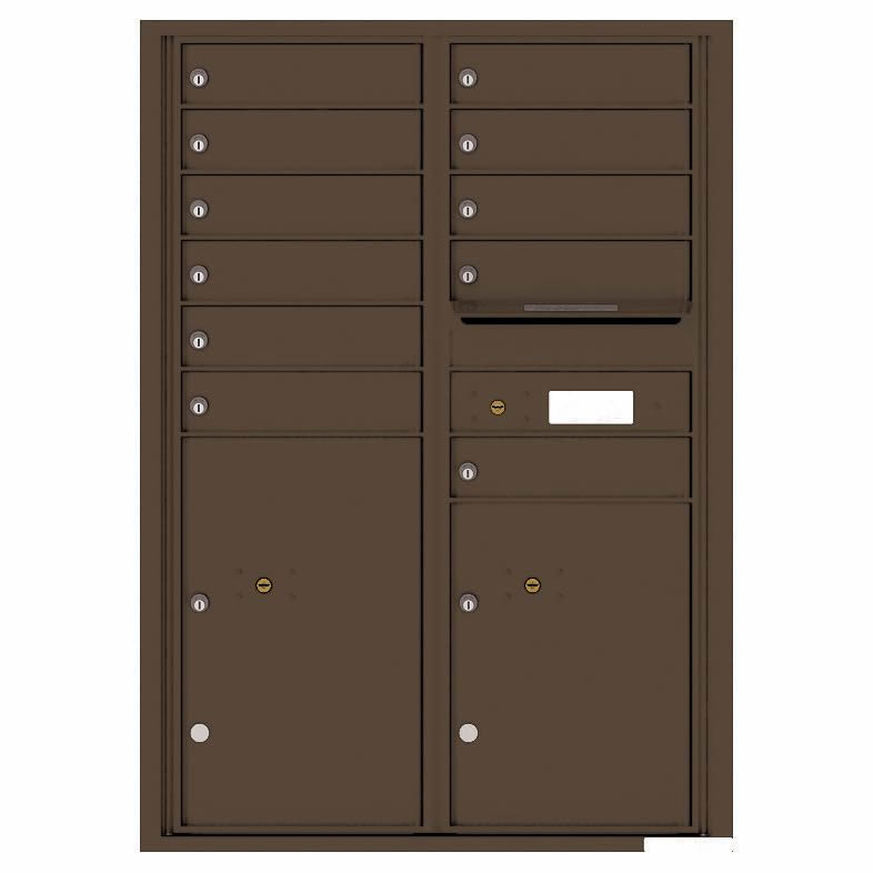 Florence Versatile Front Loading 4C Commercial Mailbox with 11 Tenant Compartments and 2 Parcel Lockers 4C12D-11 Antique Bronze