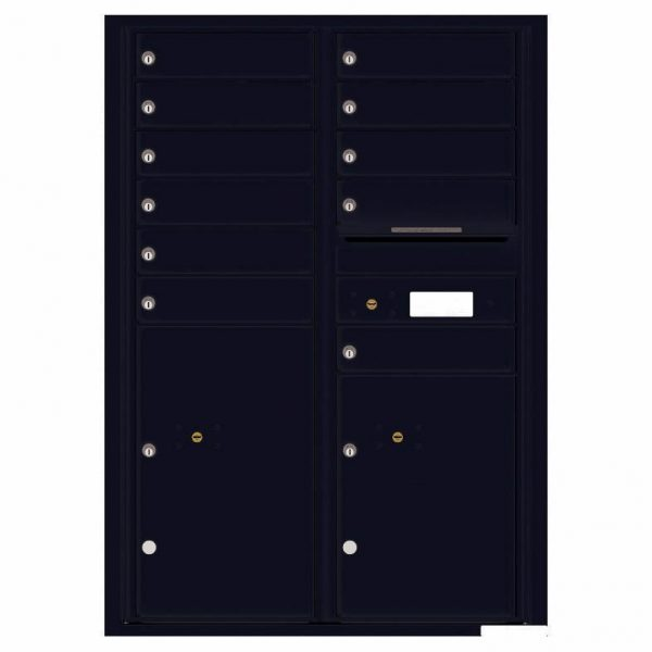 Florence Versatile Front Loading 4C Commercial Mailbox with 11 Tenant Compartments and 2 Parcel Lockers 4C12D-11 Black