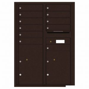 Florence Versatile Front Loading 4C Commercial Mailbox with 11 Tenant Compartments and 2 Parcel Lockers 4C12D-11 Dark Bronze