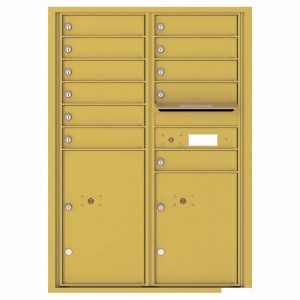 Florence Versatile Front Loading 4C Commercial Mailbox with 11 Tenant Compartments and 2 Parcel Lockers 4C12D-11 Gold Speck