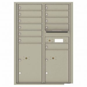 Florence Versatile Front Loading 4C Commercial Mailbox with 11 Tenant Compartments and 2 Parcel Lockers 4C12D-11 Postal Grey