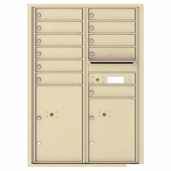 Florence Versatile Front Loading 4C Commercial Mailbox with 11 Tenant Compartments and 2 Parcel Lockers 4C12D-11 Sandstone