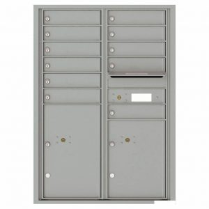 Florence Versatile Front Loading 4C Commercial Mailbox with 11 Tenant Compartments and 2 Parcel Lockers 4C12D-11 Silver Speck