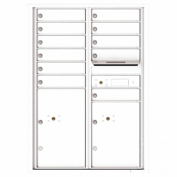 Florence Versatile Front Loading 4C Commercial Mailbox with 11 Tenant Compartments and 2 Parcel Lockers 4C12D-11 White