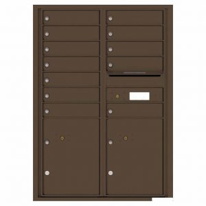 Florence Versatile Front Loading 4C Commercial Mailbox with 12 tenants 2 parcels 4C12D-12 Antique Bronze