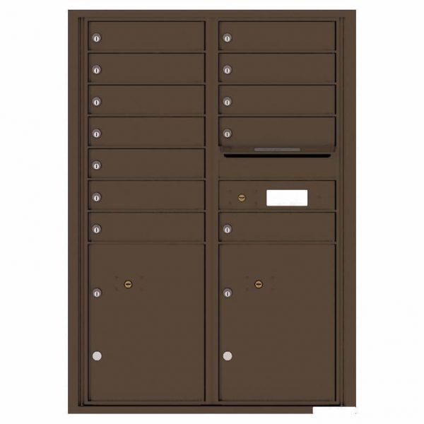 Florence Versatile Front Loading 4C Commercial Mailbox with 12 tenants 2 parcels 4C12D-12 Antique Bronze