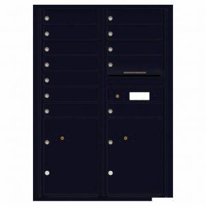 Florence Versatile Front Loading 4C Commercial Mailbox with 12 tenants 2 parcels 4C12D-12 Black