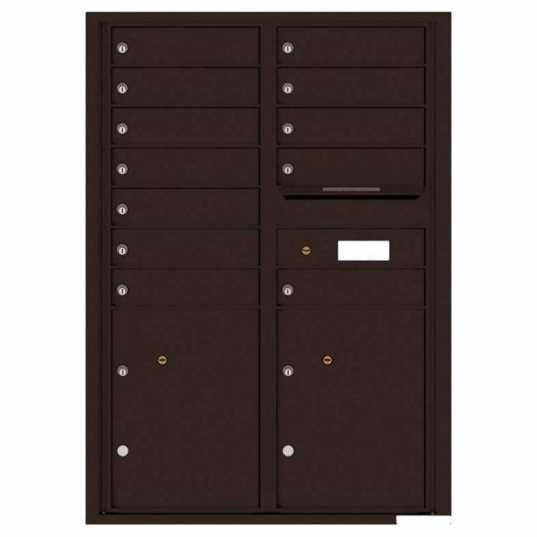 Florence Versatile Front Loading 4C Commercial Mailbox with 12 tenants 2 parcels 4C12D-12 Dark Bronze
