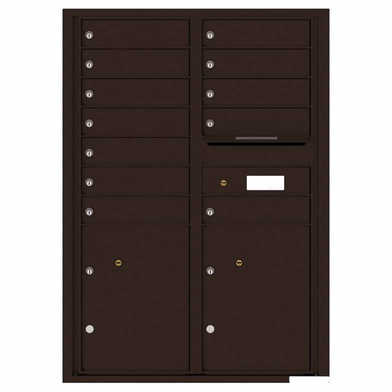 Florence Versatile Front Loading 4C Commercial Mailbox with 12 tenants 2 parcels 4C12D-12 Dark Bronze