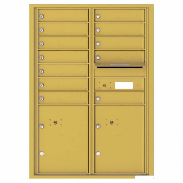Florence Versatile Front Loading 4C Commercial Mailbox with 12 tenants 2 parcels 4C12D-12 Gold Speck