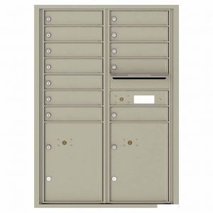 Florence Versatile Front Loading 4C Commercial Mailbox with 12 tenants 2 parcels 4C12D-12 Postal Grey